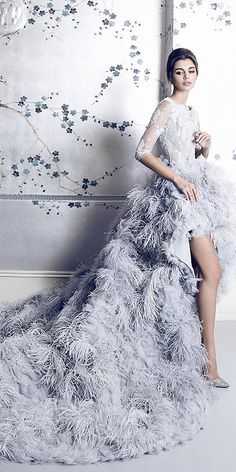 dusty blue high low feather wedding dress with half sleeves Non White Wedding Dresses, Traditional Wedding Dresses, Bridal Dresses, Bridesmaid Dresses, Dresses Dresses, Wedding Dress With Feathers, Feather Dress, Boho Vintage, Wedding Dress Sleeves