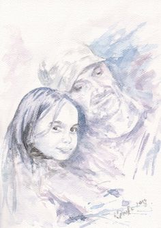 Custom Portrait Two Faces Watercolor Painting from by mallalu, $180.00