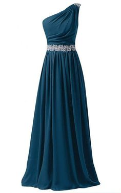 Dark Green A Line One Shoulder Chiffon Sweep Train Appliques Lace Long Prom Dress