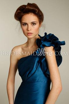 teal draped one shoulder floor length a line bridesmaid dress