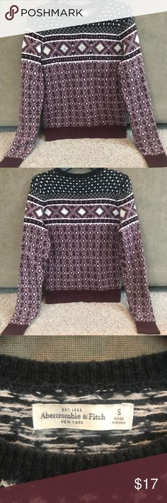 ABERCROMBIE & FITCH SWEATER This sweater is in GREAT condition. It is maroon, grey, and navy blue with all gems and sequins intact. It is extremely soft and will keep you very warm through the winter months! Abercrombie & Fitch Tops