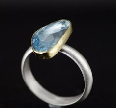 Rose Cut Aquamarine Ring 18k Yellow Gold and Sterling by PPennee