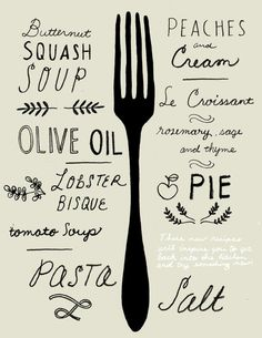(via Typography / by CHRIS SILAS NEAL)  piece with tableware/ quilt with food or drink words?