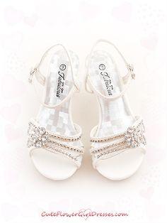 Dress Shoes for Girls | White Shiny Rhinestoned Enamel Girl Sandals