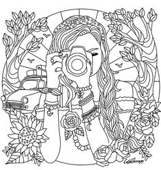 Girl With A Camera Coloring Page
