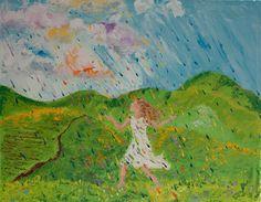 11x14 Meadow Girl Meadow Spring Rain Oil on by ColorsOfCynthiaC
