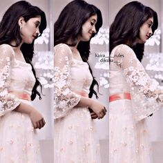 """naira """"@shivangijoshi18 ❤ ❤"""" Indian Fashion Designers, Indian Designer Wear, Half Saree Lehenga, Indian Gowns Dresses, Fancy Blouse Designs, Gown Pattern, Traditional Fashion, Celebrity Outfits, Dream Dress"""
