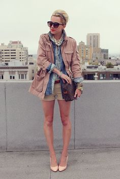 A chic preppy outfit for the city. perfect for early fall! Vogue, Cargo Jacket, Business Outfit, Culottes, Spring Looks, Fashion Lookbook, Swagg, Get Dressed, Spring Summer Fashion