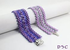 Superduo Tila Hand Stitched Cuff Style Bracelet, Purple Tanzanite and Cobalt or Cool Pink Lavender and Gray, Glass Seed Bead Color Choice