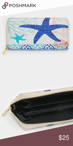 """Starfish zip around wallet • Color : Blue, Gold, White • Theme : Sea Life  • Size : 7.5"""" W, 4"""" H • 1 Zip pocket / 8 card slots • Starfish zip around wallet Bags Wallets"""