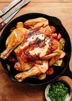 Recipe: Roast Chicken with Fennel, Carrots, and Gremolata