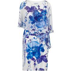 Gina Bacconi Printed Chiffon And Satin Dress, Lilac/Blue (17.795 RUB) ❤ liked on Polyvore featuring dresses, mini dress, midi cocktail dress, blue shift dress, blue chiffon dress and chiffon maxi dress