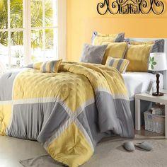 Quincy Yellow Comforter Bed In A Bag Set 8 Piece