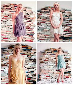 Pretty shoot with a book background-- this is the kind of thing i'd do in a photoshoot.