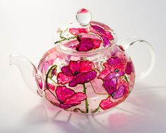 Glass Teapot flowers teapot Gift for tea lover, China teapot with Infuser, Pink Poppies Teapot by Vitraaze on Etsy China Teapot, Glass Teapot, Pink Poppies, Teapots And Cups, Teacups, Flower Tea, Loose Leaf Tea, Hostess Gifts, Housewarming Gifts