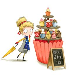 Cupcake tower illustration - feature of a magical bakery. Illustration by Emma Allen. Emma Allen, Cupcake Illustration, Illustrators, Children, Bakery, Tower, Drawings, Young Children, Boys