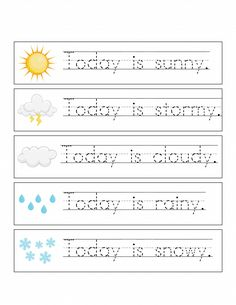 Record the Weather, Writing Practice, & Weather Match Game Printables