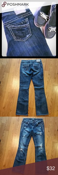 Womens Silver boot cut jeans Dark wash Aiko bootcut Silver jeans in excellent condition! These have only been worn a couple of times. Lots of detailing....and factory distressed on the front! Size 29. Length is 33. ~ any questions just ask!! Silver Jeans Jeans