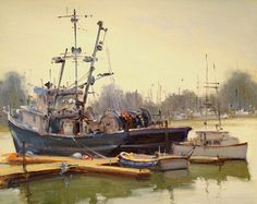 Morning Fog at Moss Landing by Brian Blood Oil ~ 11 x 14