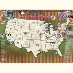 Major League Baseball Poster - Track Your Stadium Quest!