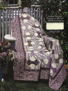 Purple Bow Ties Quilt Pattern Pieced KH