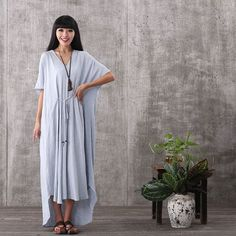 Women summer casual  short sleeve loose irregular cotton linen plus size dress