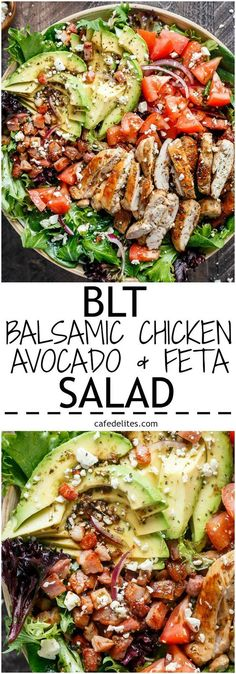 BLT Balsamic Chicken Avocado Feta Salad is a delicious twist to a BLT in a bowl,. BLT Balsamic Chicken Avocado Feta Salad is a delicious twist to a BLT in a bowl, with a balsamic dressing that doubles as a marinade! Healthy Snacks, Healthy Eating, Healthy Protein, Salad With Protein, Clean Eating Salads, Healthy Appetizers, Yummy Snacks, Healthy Life, Feta Salat