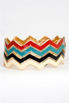 {Zigzag Bangle Set} yay for colourful chevrons! :)