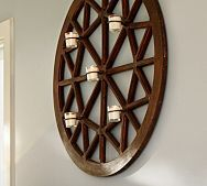 Wood Paned Wall-Mount Candle Holder
