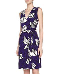 T9D7G Diane von Furstenberg New Yahzi Printed Wrap Dress, Purple