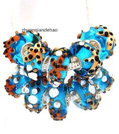 one blue starfish glass charm bracelet bead European Pugster marine sea animal