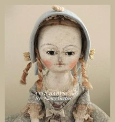 Queen-Anne-Primitive-Folk-art-cloth-DOLL-by-ATTICBABYS-OOAK-antique-style
