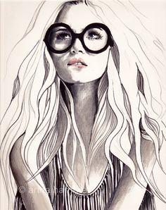 black and white cute fashion illustration