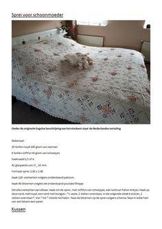 sprei schoonmoeder.docx Crochet Square Blanket, Crochet Squares, Crochet Blankets, Crochet Granny, Granny Squares, Crochet Chart, Charts, Knitting, Handmade