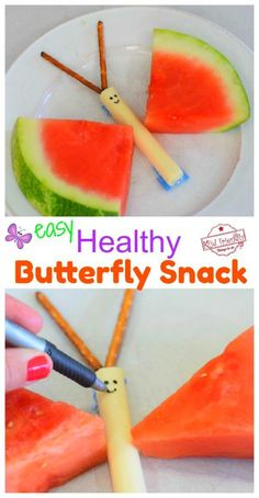 Watermelon and Cheese Stick Butterfly Snack - A fun and healthy snack for kids! Perfect for summer backyard parties or an after school treat. Easy to make and so cute! The kids will love it! www.kidfriendlythingstodo.com #easysnackforkids #healthysnackforkids #afterschoolsnackforkids #summersnackforkids #summerpartyidea #butterflysnackforkids #foodcraftforkids #snackforkidstomake #springsnackidea #easysnackforkidsidea