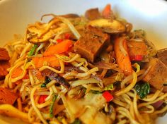 Mixed Vegetable and Noodle Stir Fry With Seitan