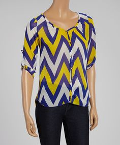 Look what I found on #zulily! Tovia Vanilla & Neon Green Zigzag Top by Tovia #zulilyfinds