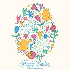 Hand-drawn flowers, hearts and birds in an Easter card Free Vector