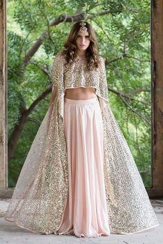 """Aza """"Portfolio"""" Weddig Bridal Lehenga - Bride in Amazing Saree Gown. Kurta Lehenga, Pink Lehenga, Bridal Lehenga, Cape Lehenga, Black Lehenga, Ghagra Choli, Lehenga Designs, Indian Wedding Outfits, Indian Outfits"""