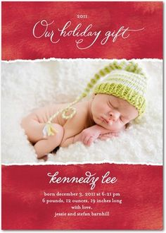 Holiday-themed birth announcement from TinyPrints.com