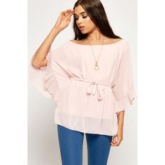 WearAll Pleated Trim Batwing Chiffon Necklace Top ($26) ❤ liked on Polyvore featuring tops, nude, chiffon tops, pink ruffle top, flutter-sleeve top, chiffon batwing top and frill top