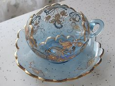 Antique Moser glass tea cup and saucer vintage by . - Antique Moser glass tea cup and saucer vintage by . Tea Cup Set, My Cup Of Tea, Tea Cup Saucer, Tea Sets, Glass Tea Cups, China Tea Cups, Cuppa Tea, Teapots And Cups, Chocolate Pots