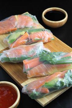 Smoked Salmon Veggie Spring Rolls by simplylifeblog #Spring_Rolls #Salmon: