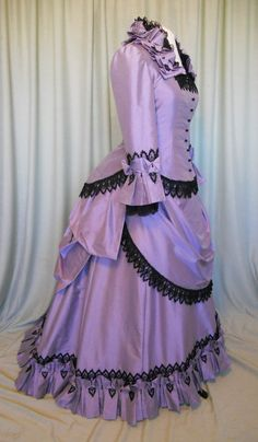 Lavender Silk Victorian Bustle Dress.