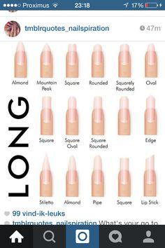 Nail - Your basic guide to different nail shapes. Try different shapes every now and th. - - Your basic guide to different nail shapes. Try different shapes every now and then l. If you don& - makemeprettie easter nails natural nails nail. Nail Art Design Gallery, Nail Art Designs, Cute Nails, Pretty Nails, Different Acrylic Nail Shapes, Acrylic Shapes, Hair And Nails, My Nails, American Nails