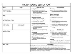 guided reading universal lesson plan template: