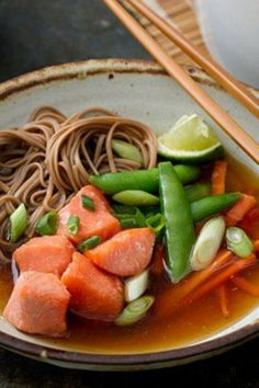 One-pot dinner that also works great with angel hair pasta instead of soba noodles.