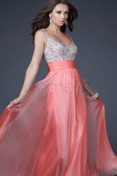 Paillette Chiffon Perlen volle länge formelles paillettenbesetztes glamouröses & dramatisches Ballkleid