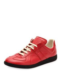 MAISON MARGIELA REPLICA LEATHER LOW-TOP SNEAKER, RED/BLACK. #maisonmargiela #shoes #