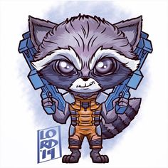 Guardians of the Galaxy!! Rocket Raccoon!!! ✏️✏️✏️✏️ #lord_mesa #lordmesaart #artwork #illustrator #illustration #vectorart #mangastudioex5 #marvel #rocketraccoon #bradleycooper #guardiansofthegalaxy #igers #kids #fun #funny #chibi #superheroes